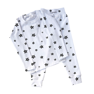 Black + White Star Long PJ Set