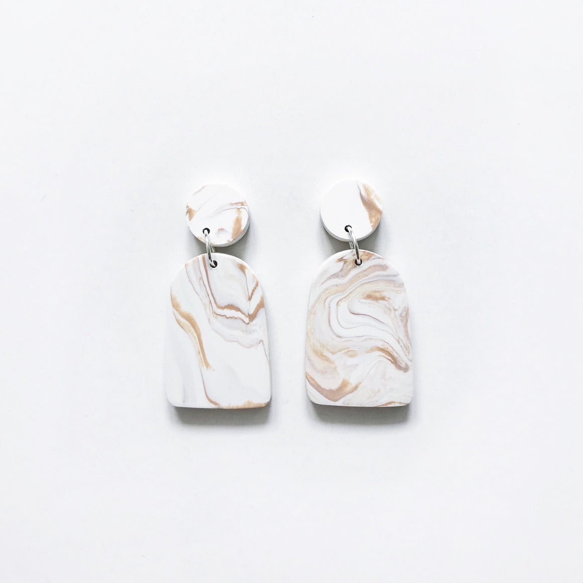 Arch Drop Earrings - Tan Marble