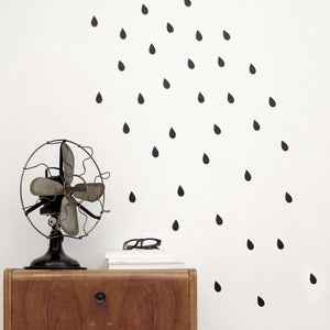 Black Raindrops Vinyl Wall Decals