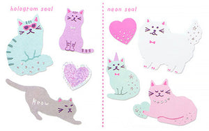 Holographic and Neon Seal Sticker Set - Cats