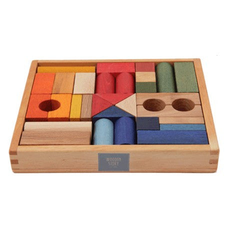 Rainbow Wooden Blocks 30 Piece Set