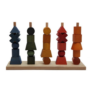 Wooden Shapes Stacking Toy - Rainbow