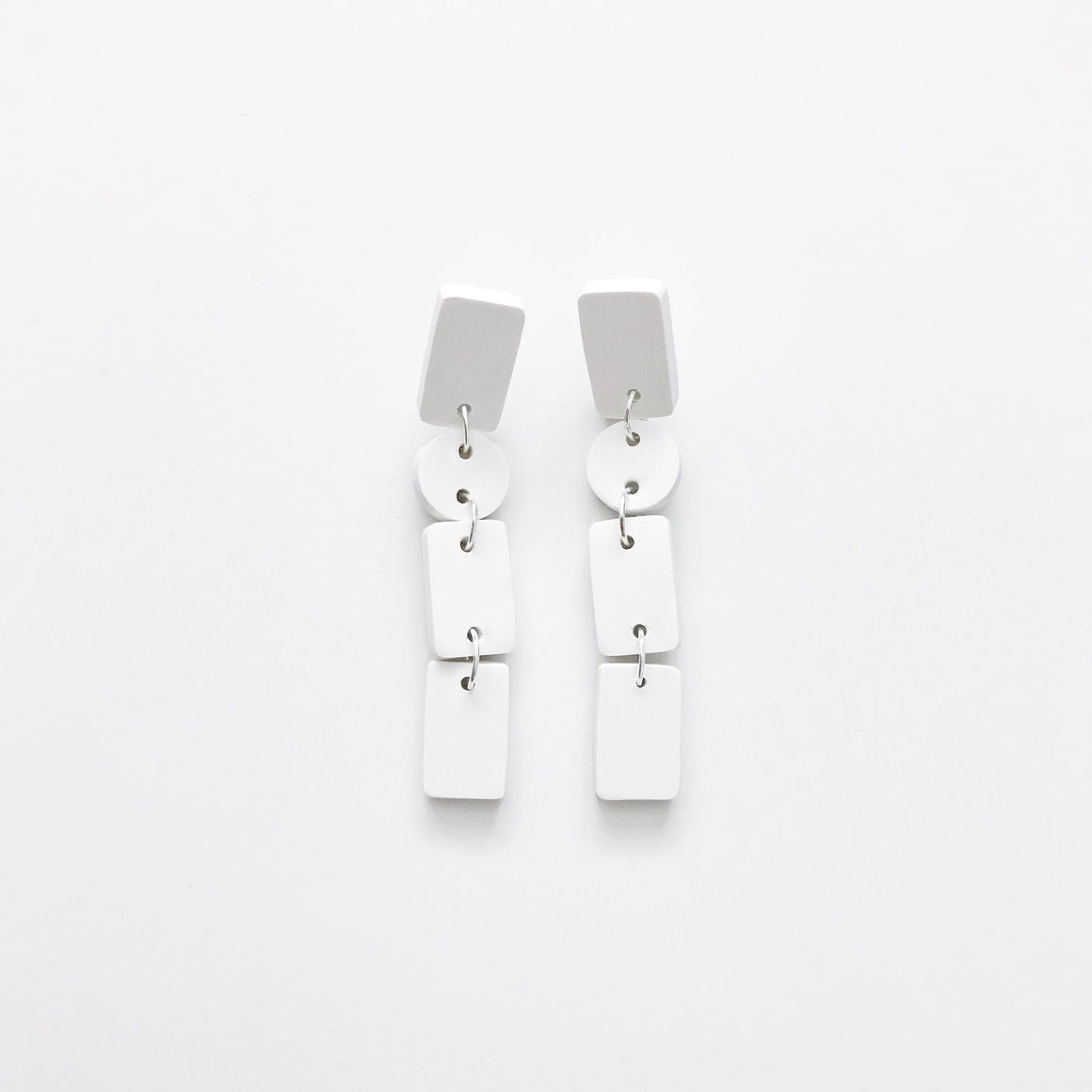 Shapes Dangle Earrings - White