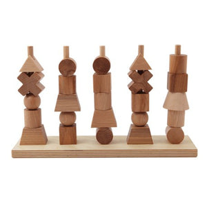 Wooden Shapes Stacking Toy - Natural