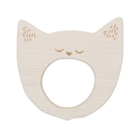 Wood Teether - Yawning Cat