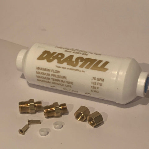 "Single Durastill Gold Label Pre-Filter with scale inhibitor for hard water with fittings #WD400-526 6"" Original Manufacturer Equipment"