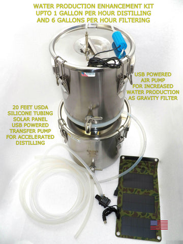 Enhanced Solar Powered Emergency Survival Water Distiller Multi-Purpose Distiller and Gravity Filter Combination with Auto Fill Feature and Stainless Steel Drip Tube