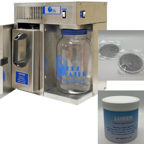 Pure Water Mini Classic CT Water Distiller Bundle with 2 Post Filters and Descaler