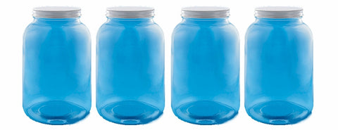 4 Glass Clear One Gallon Storage Bottles with Plastic Lids