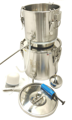 Emergency Survival Water Distiller Multi-Purpose Distiller and Gravity Filter Combination with Auto Fill Feature and Stainless Steel Drip Tube
