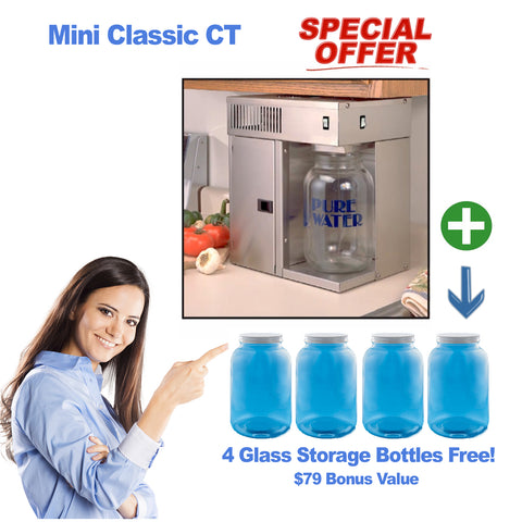 Mini Classic CT Distiller + 4 Glass One Gallon Storage Bottles