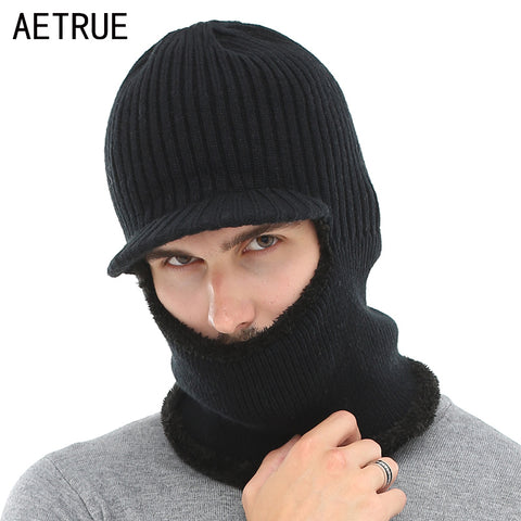 Knitted Hat Men Women Winter Hat Mask Balaclava Scarf Skullies Beanies For  Men Warm Soft Fur ... 3c592defc09