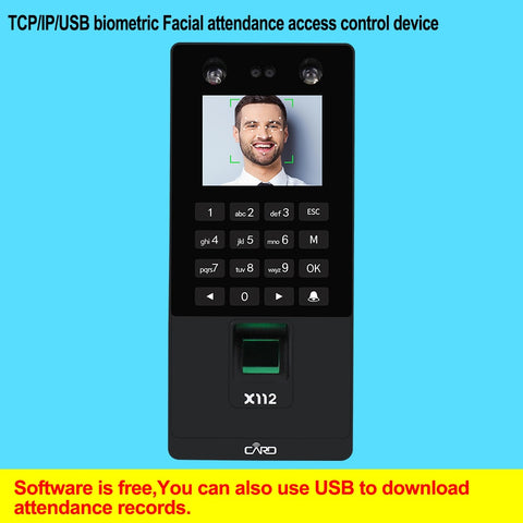Biometric Facial Face Recognition TCP/IP Fingerprint USB Password Key  Access Control syetem Device Time Attendance electric lock