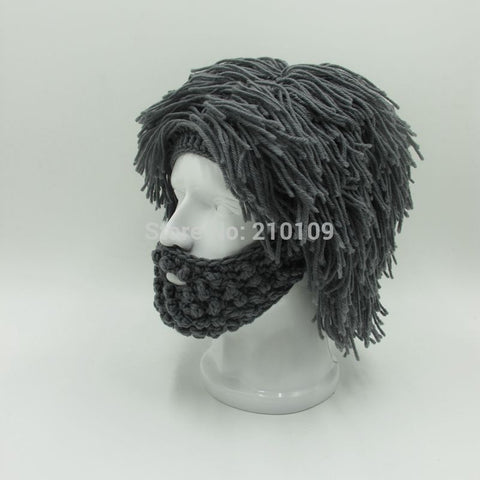 c2a7a60f3d0 ... Wig Beard Hats Hobo Mad Scientist Rasta Caveman Handmade Knit Warm  Winter Caps Men Women Halloween ...