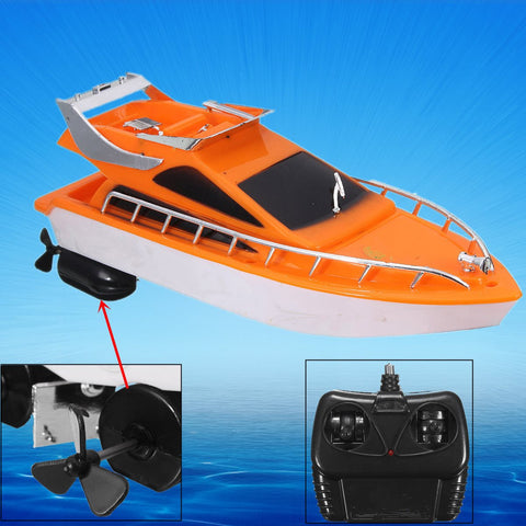 Hot Sale Orange Mini Rc Boats Plastic Electric Remote Control Speed Boat Kid Chirdren Toy 26x7 5x9cm