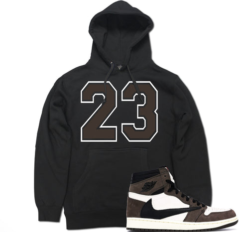 Men's 23 Brown Travis Scott Retro 1 Pullover Hooded Sweater