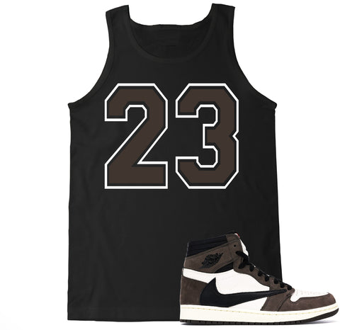 Men's 23 Brown Travis Scott Retro 1 Tank Top