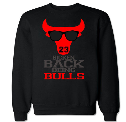Men's BICKEN BACK BEING BULLS Crewneck Sweater