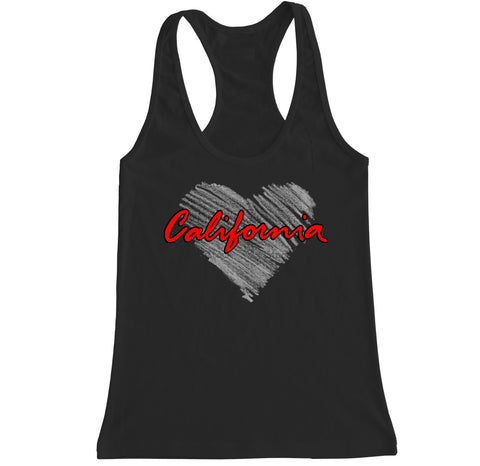 Women's California Heart Racerback Tank Top