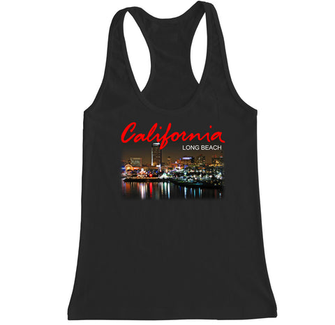 Women's California Long Beach City Racerback Tank Top