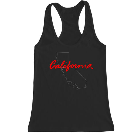 Women's California State Outline Racerback Tank Top