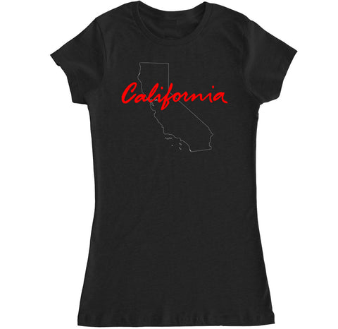 Women's California State Outline T Shirt
