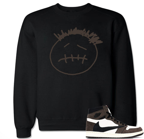 Men's Face Logo AJ1 Cactus Jack Travis Scott Retro 1 Crewneck Sweater