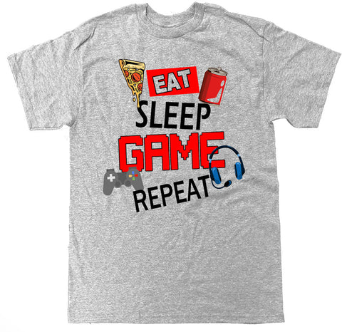 Men's Eat Sleep Game Repeat T Shirt
