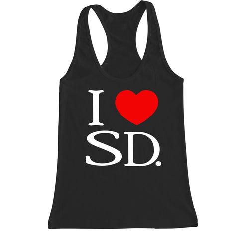 Women's I Love SD Racerback Tank Top