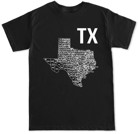 Men's TX TEXAS MAP T Shirt