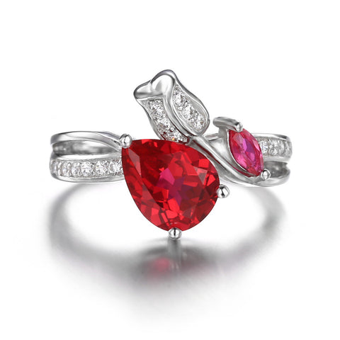 925 Sterling Silver 2.6 ct Red Ruby Promise Ring