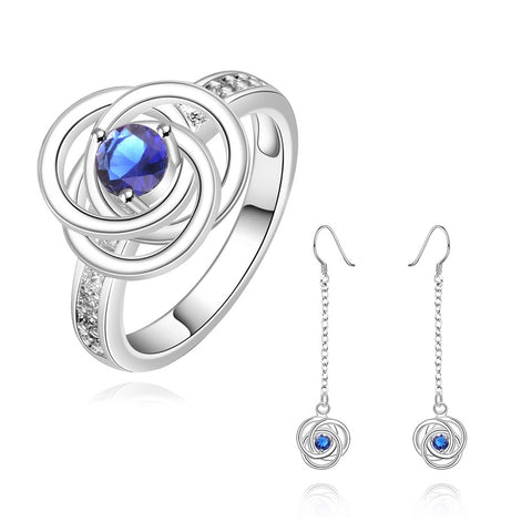 925 Silver Plated & Stamped Hollow Blue Rose Set