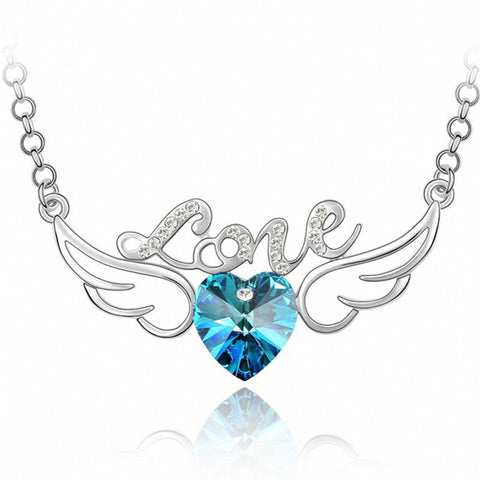 925 Silver Blue Angel Wings Austrian Crystal Necklace