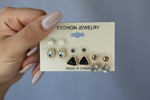 Black and Gold Earring Set