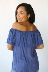 Indigo Off shoulder Top
