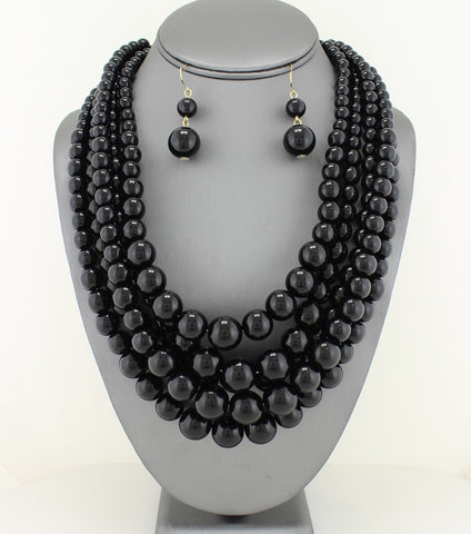 Black Multi Strand Pearl Necklace & Bracelet Set
