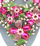 Water Fuschia Pearl Bib Necklace