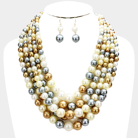Multi Brown Pearl Necklace and Bracelet Set