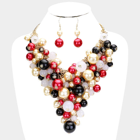 Multi Red Pearl Cluster Necklace Set