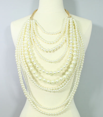 Ivory Multi-Strand Pearl Necklace