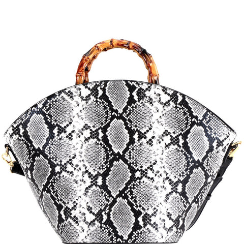 Bamboo Handle Snake Skin Fan Bag