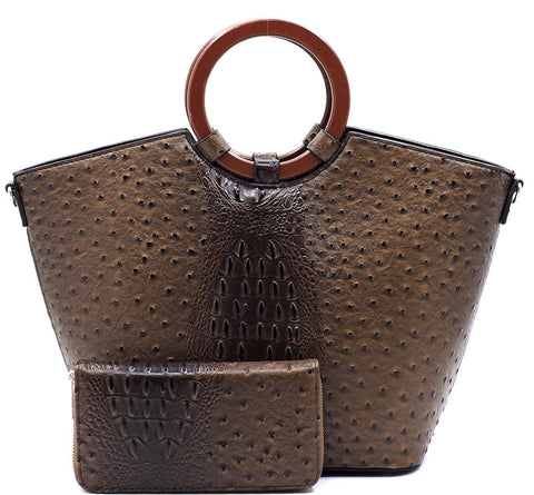 Ostrich Croc Satchel Handbag With Matching Wallet