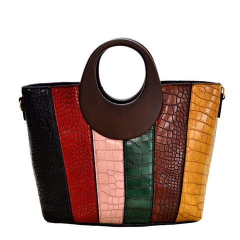 Wood Handle Color Block Handbag (BLK)