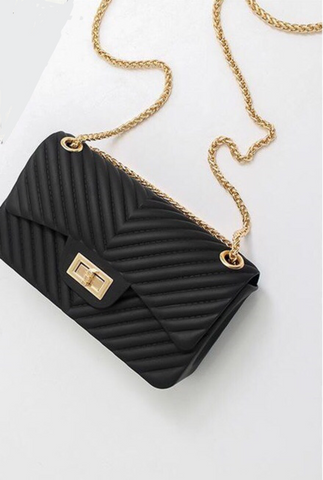Embossed  Quilted 2-Way Medium Shoulder Bag