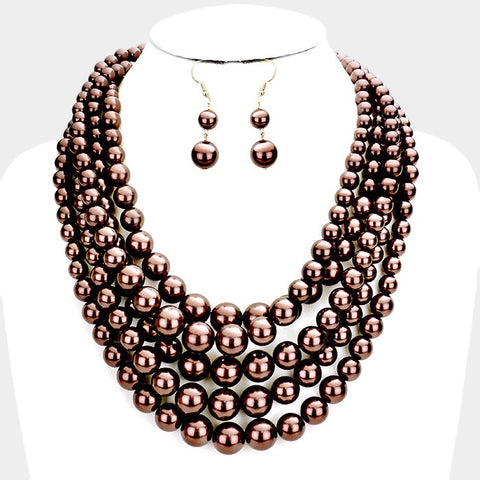 Chocolate Pearl Necklace and Bracelet Set