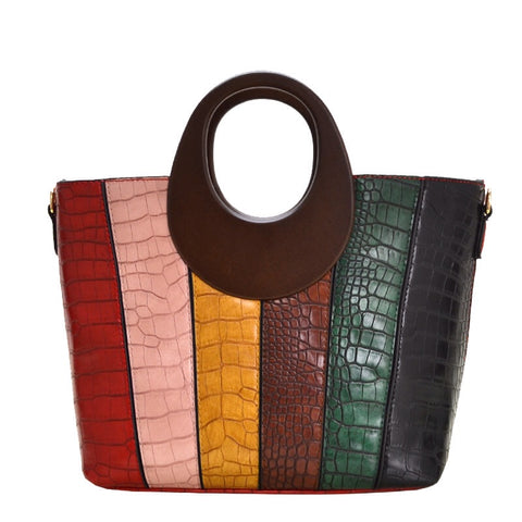 Wood Handle Color Block Handbag (RD)