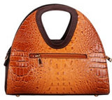 Color Block Croc Round Handle Satchel With Wallet