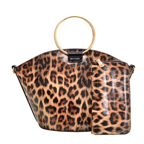 Gloss Leopard Satchel Handbag