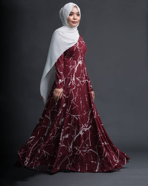 Marble Basic Dress (Maroon/White)-Nushee Nurra