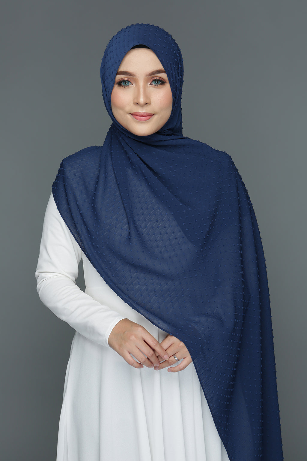 Textured shawl (Navy)